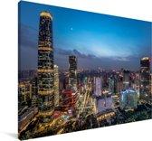 Stadsoverzicht van Guangzhou in de avond Canvas 90x60 cm - Foto print op Canvas schilderij (Wanddecoratie woonkamer / slaapkamer) / Aziatische steden Canvas Schilderijen