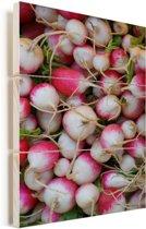 Kleurrijke knolrapen bij elkaar Vurenhout met planken 60x90 cm - Foto print op Hout (Wanddecoratie)