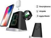 DrPhone LEVEL 3 in 1-Draadloze Oplader Stand Geschikt Voor Smartphone, Apple Watch Serie 4/3/2/1 en Airpods