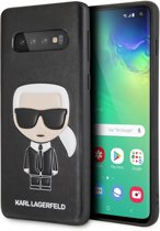 Karl Lagerfeld Back Cover Zwart - iIkonik - Leer; TPU - Samsung Galaxy S10  - Full Body