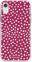 Iphone XR - TPU Soft Case - Back Cover telefoonhoesje - Polka Dots / Bordeaux Rood