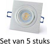 Dimbare 7W GU10 inbouwspot | Zilver vierkant | Set van 5 stuks
