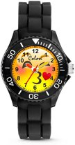 Colori Happy Smile 5 CLK071 Kinderhorloge met Kiss Emoticon - Siliconen Band - Ø 30 mm - Zwart