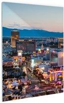 Las Vegas Strip Avond Glas 80x120 cm - Foto print op Glas (Plexiglas wanddecoratie)