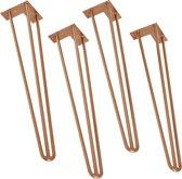 Hairpin poten-tafelpoten - 4 stuks set - 72 cm-koperkleurig