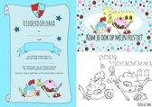 Ridderpakket - kinderfeestje: 8 Ridder uitnodigingen, 8 Ridder diploma's & 8 Ridder kleurplaten