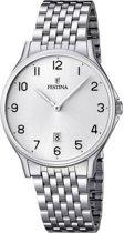 Festina F16744/1 Klassiek - Horloge- Staal - Zilverkleurig - 39 mm