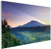 Indonesie Bali rijstvelden en vulkanen Glas 120x80 cm - Foto print op Glas (Plexiglas wanddecoratie)