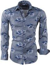 Ferlucci - Heren Overhemd met Trendy Design - Bloemen - Calabria - Grijs