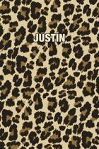 Justin: Personalized Notebook - Leopard Print (Animal Pattern). Blank College Ruled (Lined) Journal for Notes, Journaling, Dia
