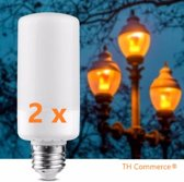 2 stuks VUURLAMPEN Fire Lamp - E 27  grote fitting - ledlamp - sfeerlamp - vlammen  nr 1738