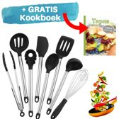 Siliconen Keukengerei Kookgerei Set - RVS Keuken Accessoires - 8 Delige Keukenset - Keukenspullen Als Spatel En Opscheplepel - Gratis Kookboek