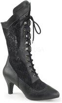 Divine-1050 laars met korte hak en kant mat zwart - Steampunk Victoriaans - (EU 46 = US 15) - Pleaser Pink Label
