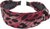 Diadeem knoop panter print rood zwart - haarband