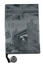 Notitieboekje met print 'Londen' – Grijsblauw