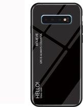 Let op type!! Gradiënt kleur glas beschermhoes voor Galaxy S10 plus (zwart)