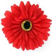 50x Bloem Gerbera rood met pin en haarclip