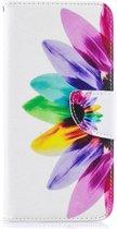 Shop4 - Samsung Galaxy A50 Hoesje - Wallet Case Gekleurde Bloem