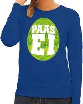 Paas sweater blauw met groen ei voor dames 2XL