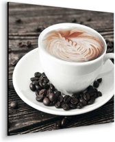 Cappuccino met koffiebonen  - Schilderij 30 x 30 cm