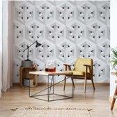 Fotobehang Modern 3D White And Grey Cube Pattern | V8 - 368cm x 254cm | 130gr/m2 Vlies