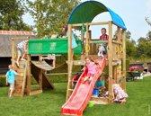 Jungle Gym - Farm Bridge - Houten Speeltoestel voor Buiten - Met Glijbaan - Rood