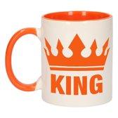 1x Koningsdag King beker / mok - oranje met wit - 300 ml keramiek - oranje bekers