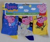 Set van 3 Paar Peppa George sokken maat 27/30, blauw-grijs-geel