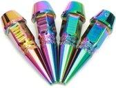 4pcs Long Spiked Valve Kleurrijke Stam Cap Cap Aluminium Band Wiel Lucht Spuitdraad