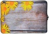 Laptop Sleeve met bloemen tot 15.4 inch – Geel/Bruin