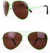 Zonnebril/ Pilotenbril fluor groen
