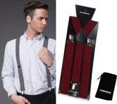 Bretels - Bordeaux rood - Wijnrood - Sorprese - met stevige clip - luxe - unisex - heren bretels