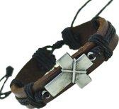 Fako Bijoux® - Armband - Leder - Kruis Bedel - Zwart