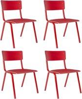Zuiver Back to School HPL - Stoel - Rood - Set van 4