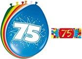 Ballonnen 75 jaar van 30 cm 16 stuks + gratis sticker