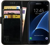 Rosso Element Samsung Galaxy S7 Edge Hoesje Book Cover Zwart | Ruimte voor drie pasjes | Opbergvakje voor briefgeld | Handige stand functie | Magneetsluiting