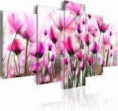 Schilderij - Geheime tuin , roze wit , bloem , 5 luik