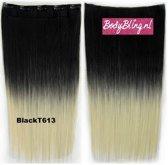 Clip in hair extensions 1 baan straight zwart / blond -  BlackT613