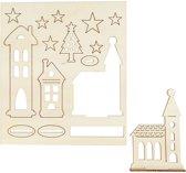 DIY Houten figuren, kerstdorp, l: 20 cm, b: 17 cm, triplex, 1doos, dikte 3 mm