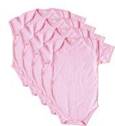 Link Kidswear 4-pak baby rompers - Korte mouw - Babyroze - Maat 74/80