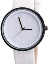 Horloge-  Wit- Canvas- 4 cm- Gratis batterij