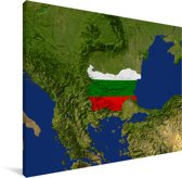 Satellietbeeld van de vlag van Bulgarije Canvas 80x60 cm - Foto print op Canvas schilderij (Wanddecoratie woonkamer / slaapkamer)