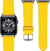 Gele Lederen Apple horlogeband (38mm) zwarte adapter
