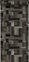 Origin behang sloophout motief zwart en grijs