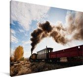 Afbeelding van een stoomlocomotief Canvas 140x90 cm - Foto print op Canvas schilderij (Wanddecoratie woonkamer / slaapkamer)