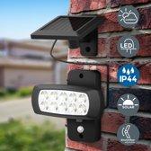 B.K.Licht LED buitenschijnwerper met zonnepaneel en bewegingssensor - 6500K - tuin en garage - zwart