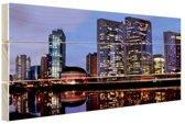 Skyline Sao Paulo by night Hout 60x40 cm - Foto print op Hout (Wanddecoratie)