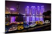 Bootjes voor de paarse gebouwen voor Wuhan Aluminium 30x20 cm - klein - Foto print op Aluminium (metaal wanddecoratie)