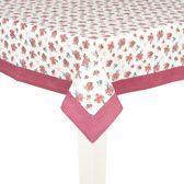 Clayre & Eef - Tafelkleed - Tafellaken - Katoen - stoelkussen - Roosjes en vogels - 100 x 100 cm