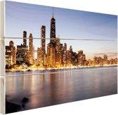 Gouden kustgebouwen in Chicago Hout 80x60 cm - Foto print op Hout (Wanddecoratie)
